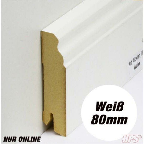 Sockelleiste weiss - Alt Wien 80mm - 15lfm