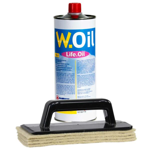 Vermeister Pflegeset - Life Oil 1lt inkl 1xPadhalter und 4xWollpads